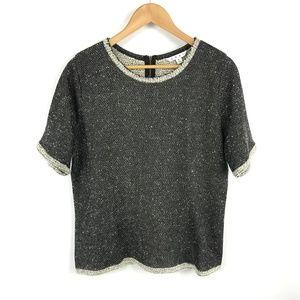 Cabi Coco Shell Short Sleeve Gray Top 3437